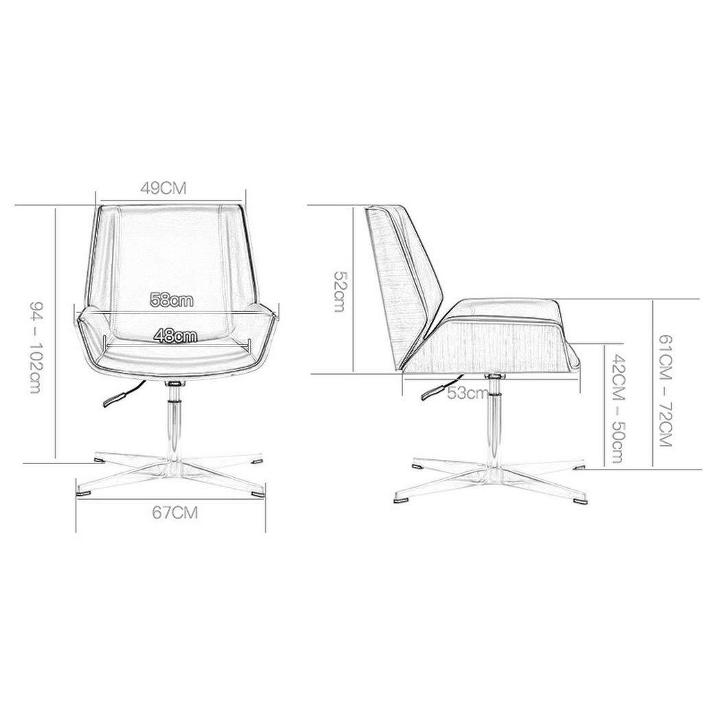 ZHEN GUO 50-talet modern kontorsstol med cipri läderklädsel, justerbar höjd armlös svängbar stol, mellanrygg verkställande stolar, ben i rostfritt stål Walnut Look Black Varm vit