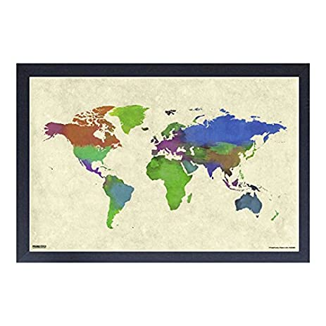 Amazon world map watercolor framed 11x17 print posters world map watercolor framed 11x17 print gumiabroncs Images