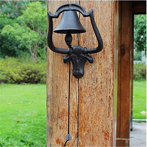 装飾ドアベル鉄牛農家スタイルドアベル金属壁マウントドアコールベル伝統的な職人の技ハウスガーデン中庭