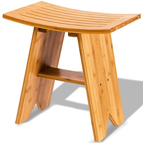 """LordBee Indoor/Outdoor Use 18"""" Bamboo Shower Bath Stool Bench with She"""