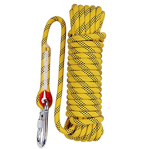 Aoneky 10 mm Static Outdoor Rock Climbing Rope, Fire Escape Safety Rappelling Rope (Yellow 1, 32) ()