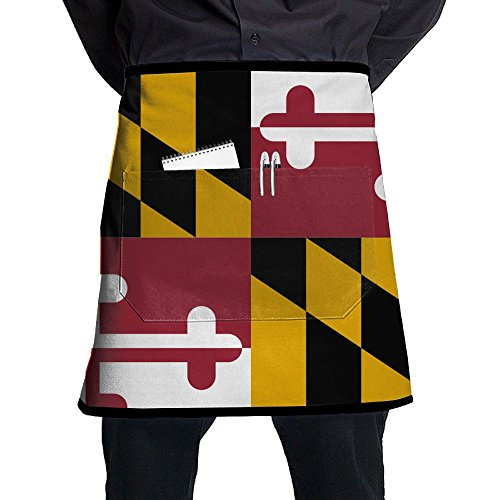 POIUYDG Maryland Flags Kitchen Apron With Pocket Half Length Short Waist Apron With Pocket For Men And Women - Maryland Pub Table