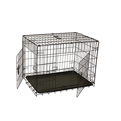 [ALEKO 2 Doors Folding Suitcase Dog/Cat Crate Cage Kennel With ABS Tray,  24'', Black] (Dog Cat Crate Cage Kennel)