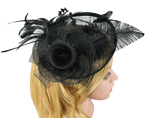Zivyes Women Derby Hat Tea Party Fascinator Sinamay Hat with Hair Clip Feather Mesh Net (Hats With Hair Attached)