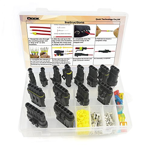 14 Set Car Waterproof Electrical Connector Plug Terminals Heat Shrink 1/2/3/4/5/6 Pin Way with 24Pcs Fuses, Clear Box