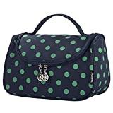 Cosmetic Organizer, Yeiotsy Polka Dots Toiletry Organizer Travel Bag for Womens Travel (Navy Blue)