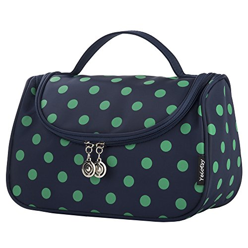 (Toiletry Bag Polka Dots, Yeiotsy Stylish Travel Makeup Bag with Brushes Holders for Women Cosmetic Organizer Cute (Navy)