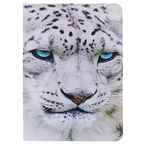 iPad AIR 2 Case,[White Tiger] Slim Fit Premium Colorful PU Leather Wallet Soft TPU Case Folio Flip Stand Case Cover with Card Slots for Apple iPad Air 2 / iPad (Ipad Air 2 Cover Tiger)