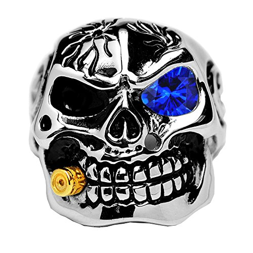 Men's Casted Stainless Steel Skull Biker Ring with Simulated Sapphire Color Cubic Zirconia & Bullet 13 (Sapphire Biker Ring)