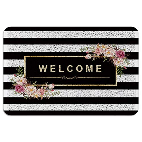(OneHoney Welcome Outdoor Door Mat, Indoor Entrance Non-Slip Doormats, Outside Patio PVC Rug Pad, Heavy Duty Duraloop Mesh Dirt Mud Trapper -Classy Black White Stripes Beautiful Floral)