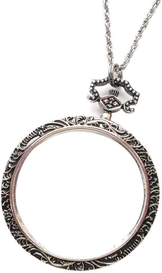 Gazechimp Vergr/ö/ßerung Glas 5x Vergr/ö/ßerungsglas Anh/änger Lupe mit Ketten Monokel Halsketten Silber