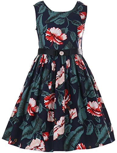 PrinceSasa Girls Black Formal Dress Girls Vintage Dresses 7-16,f4,57''/10-11 Years(Size 150) ()
