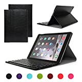 iPad Air 2/iPad 6 Keyboard Case, Symbollife Black Folding PU Leather Folio Case Cover & Stand with Removable Bluetooth Keyboard for Apple iPad Air 2 (iPad 6th Gen) 2014 Version