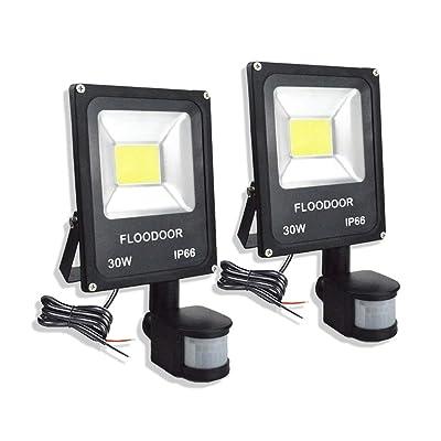 FLOODOOR 30W LED Motion Sensor Light, 12-24V Outdoor Security Super Bright Flood Light, IP66 Waterproof, 6000K, 2700LM, Daylight White, 150W Halogen Bulb Equivalent, PIR Sensor Light (2 Pack): Home Improvement