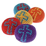 Lot Of 12 Assorted Color Religious Christian Theme Cross Knitted Hackie Sacks