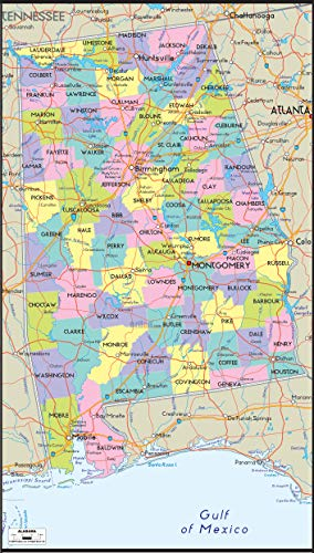 Home Comforts Map - Map of Alabama Includes City Towns and Counties United Stuning Southern Us with Cities Vivid Imagery Laminated Poster Print 24 x 36