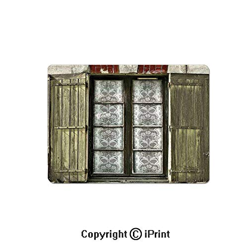 Jet Antique French - Gaming Mouse Pads, European French Window with Antique Open Shutters Print Vintage Style Home Decor Non Slip Rubber Mousepad,7.1x8.7 inch,Brown White