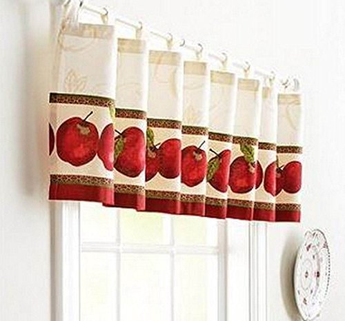 Apples Tab Top Ivory Valance 60x14 Country Kitchen Red Fruit by Unbranded (Image #1)'