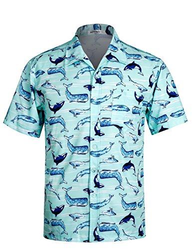 APTRO Men's Hawaiian Shirt Short Sleeve Palm Beach Shirts Aloha Shirt DZHF HW008 ()