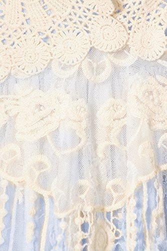 Blumen Frauen Spitze Vintage Häkel 1920s Kaci Anna Gastby Kleid Blau Rüsch Vertuschung gestrickt Zweiteiler ärmellos SxFYw