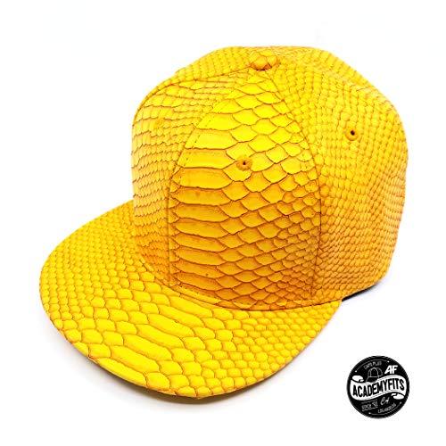 (AcademyFits 2 Tone and Solid PU Leather Snakeskin Snapback Texture Baseball Cap Adjustable Fit Blank Plain Cap Hat Headwear (Yellow))