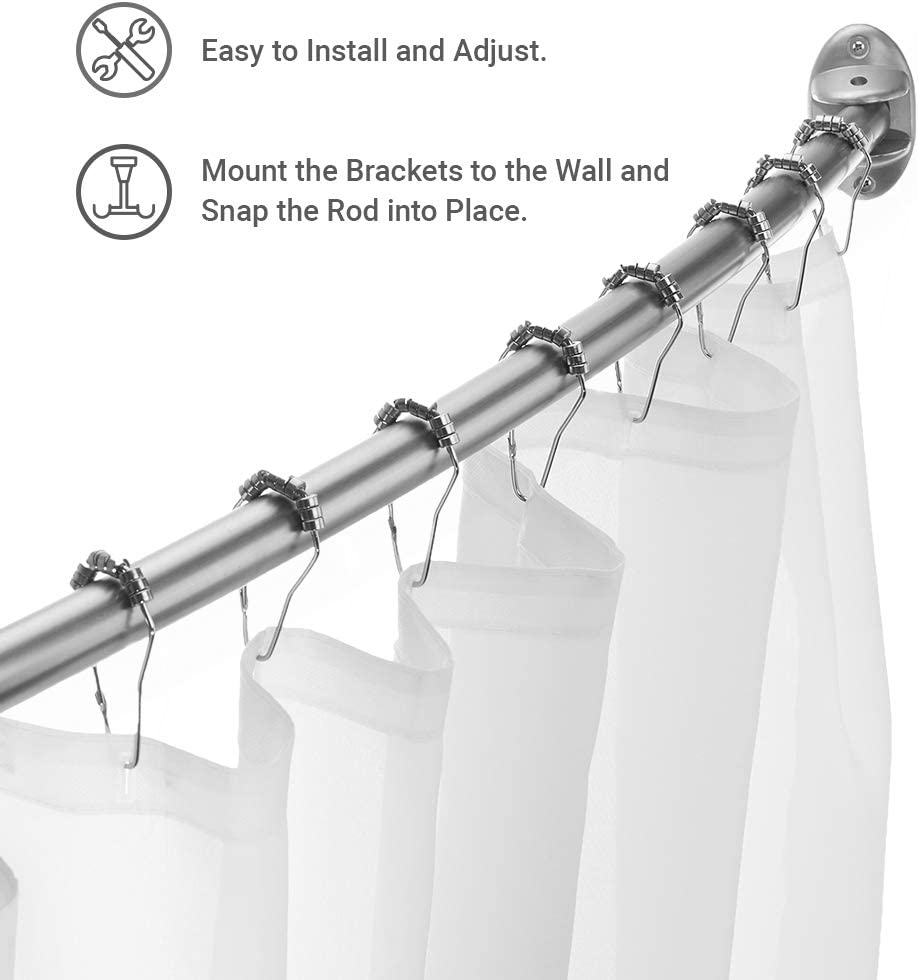 Curved Shower Curtain Rod In Brushed Nickel Snap It Brackets Gorgeous Upgrade!