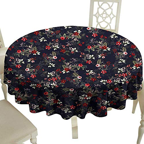 WinfreyDecor Elegance Engineered Tablecloth Seamless Vintage Cute Flower Illustrator Pattern Clothing Design for Textile Indoor Outdoor Camping Picnic D51
