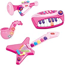 Liberty Imports 4-Piece Band Musical Toy Instruments Playset for Kids | Keyboard, Guitar, Saxophone & Trumpet - with Volume Control (Pink)