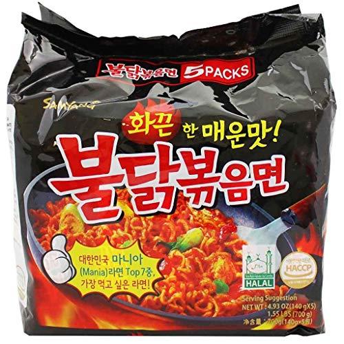 Samyang Instant Ramen Noodles, Halal Certified, Spicy Stir-Fried Chicken Flavor (Pack of 5)