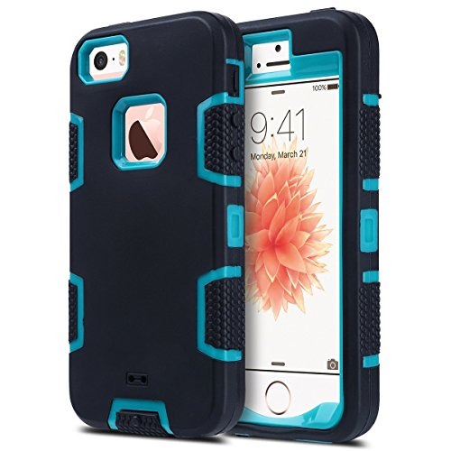 ULAK iPhone 5S Case, iPhone 5 Case,iPhone SE Case, Knox Armor Heavy Duty Shockproof Sport Rugged Drop Resistant Dustproof Protective Case Cover for Apple iPhone 5 5S SE -Blue+Black (Best Protective Cover For Iphone 5s)