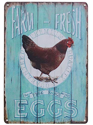 - TISOSO Tin Signs Farm Fresh Free Range Eggs Retro Vintage Tin Bar Sign Country Home Decor Garage Sign Bar Wall Decor Art Poster 8X12Inch