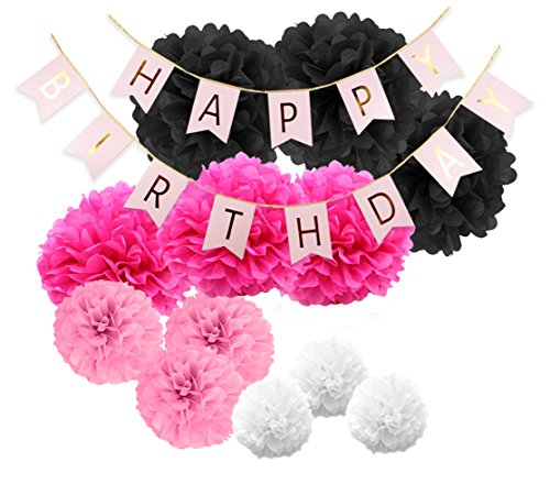 Paper Jazz Paper pom pom Happy Birthday Banner for Diva Birthday Party hot Pink Black White (DAR Pink)