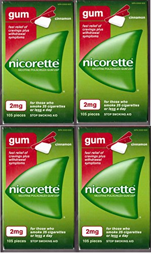 Nicorette Nicotine Gum: CINNAMON 2 MG (4 packs of 105, 420 Pieces) (Stop Smoking Aid) by Nicorette