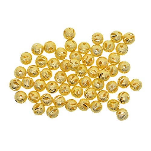 den Round Hollow Spacer Charm Beads for Bracelet Bangle Necklace Jewelry Findings Making ()