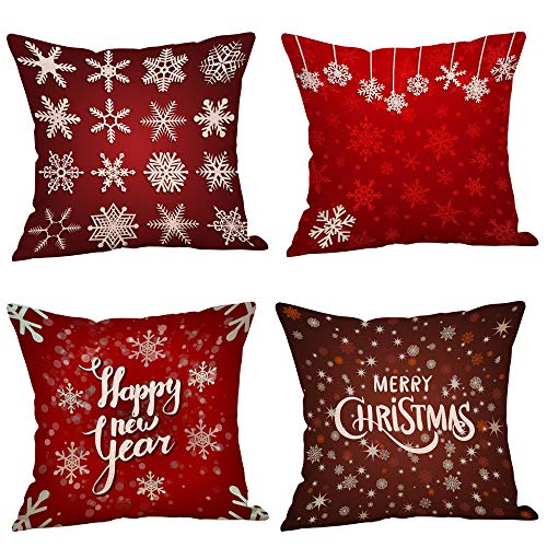 4PC Christmas Decorative Throw Pillow Covers Cases Outdoor Xmas Holiday Cushion 18x18 Home Decor for Sofa, Chritmas Deer & Tree & Flower (B)