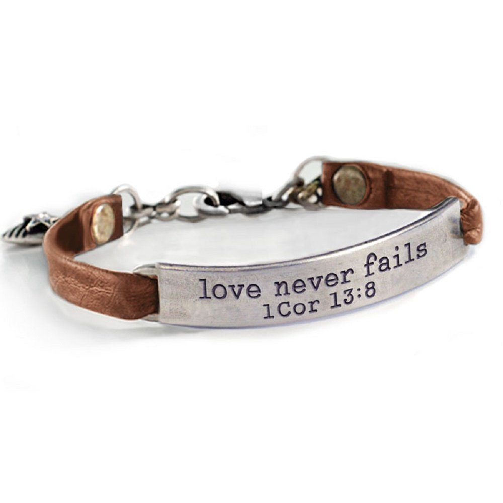 Sweet Romance Love Never Fails 1 Cor 13:8 Inspirational Leather Band Bible Message Bracelet (Brown Leather)
