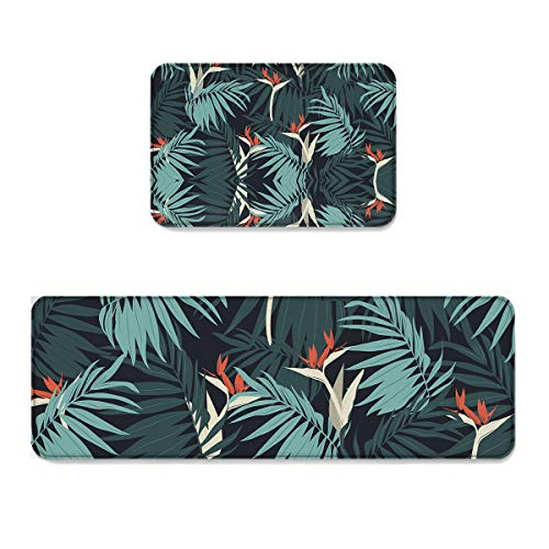 Set Palm Sunday (Kitchen Mat Doormat Runner Rug Set of 2,Kids Area Rug Mat Bedroom Rug Non-Slip Rubber Tropical Exotic Palm Tree Leaves Branches Botanical Photo Jungle Garden Nature Eco Theme,19.7x31.5in + 19.7x47.2in)