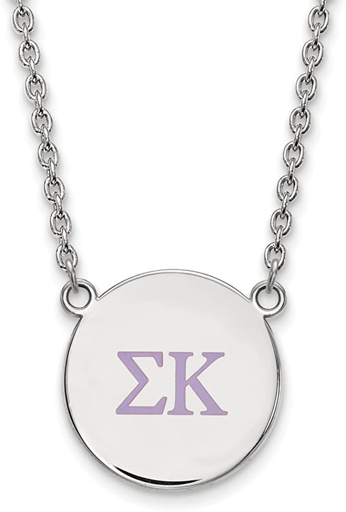 with Secure Lobster Lock Clasp 925 Sterling Silver Official Enamel Kappa Kappa Gamma Large Enl Pend Pendant Necklace Charm Chain