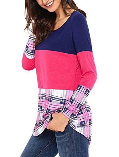 Smalltile Donna T-shirt Lunga Bluse Rotondo Collo Beach Vestiti Camicetta Abito A-Line Manica Pullover Shirts Vestito Casuale