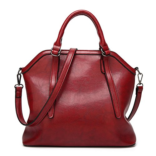 Allhqfashion Women's Casual Zipper Shoulder Bags Travel Bags Burgundy Crossed