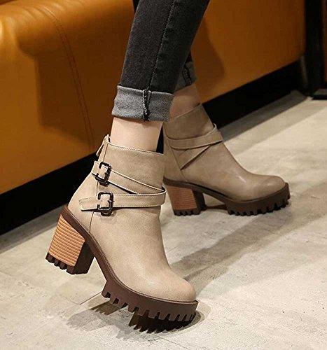Chfso Donna Alla Moda Tinta Unita Con Cinturino Alla Caviglia Con Fibbia A Metà Tacco Grosso Stivaletti Alla Caviglia Albicocca
