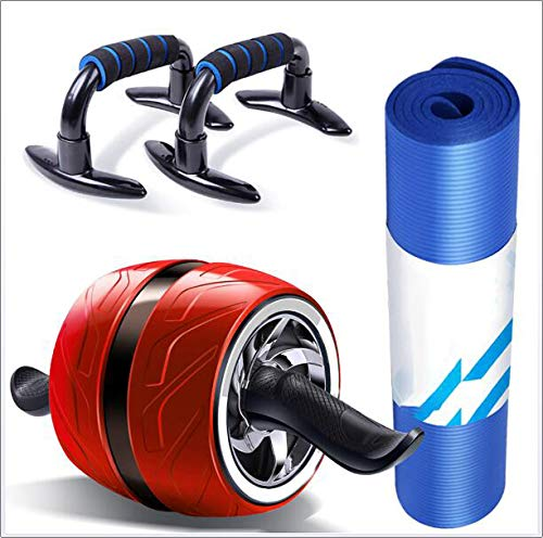 (ZYFWBDZ Abdominal Wheel Ab Roller, 3-in-1 Roller Automatic Rebound Abdominal Muscle Wheel with Push Rod Yoga Mat for Abdominal Leg and Arm Training,Red)