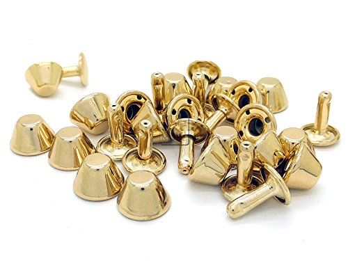 CRAFTMEmore 25 Sets 10MM Solid Brass Purse Feet Rapid Rivet Studs with Round Post Caps Leathercraft Decorative Rivets (Gold Finish Solid Brass)