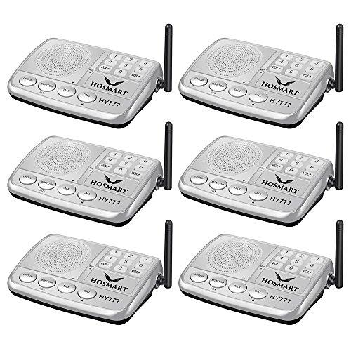 Wireless Intercom System Hosmart 1/2 Mile Long Range 7-Channel Security Wireless Intercom System for Home or Office (2019 New Version) [6 Stations Black] ()