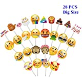 Ohlily Emoji Photo Booth Props 28 PCS Emoji Faces Photobooth Props for Birthday Wedding Reunion Party, Big Size W/ 28 Pieces Plastic Sticks