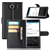 BlackBerry Priv Case [Leather Wallet Case] [Drop Protection], Popsky Lichee Lines Stand Flip Case with Built-in Card Slots and Cash Compartment Premium PU Leather Case Cover (Black)