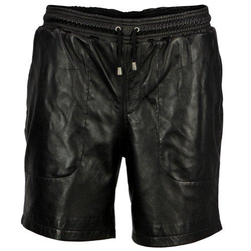 VIPARO Mens Black Soft Lambskin Leather Shorts - Melvin Black L by VIPARO