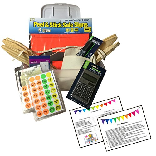 Garage Yard Sale Kit Signs Price Stickers Wood Stakes Apron Calculator