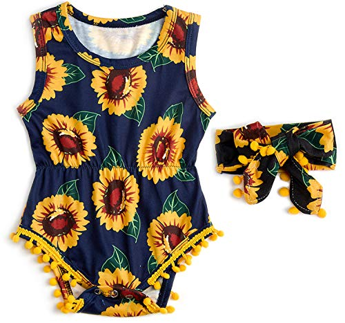 BFUSTYLE 3-6 Months Infant Baby Girl Helianthus Design Casual Playsuit Clothing Group Multicolor Baby Creeper Bodysuit with Headband ()