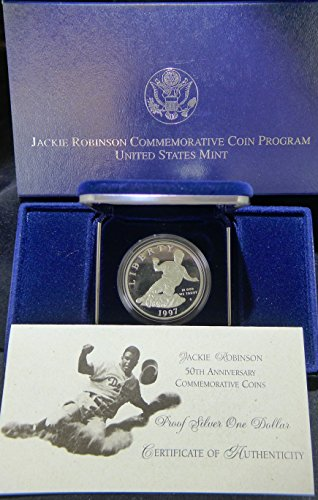 1997 S Commemorative Jackie Robinson Silver Dollar Proof US Mint ()
